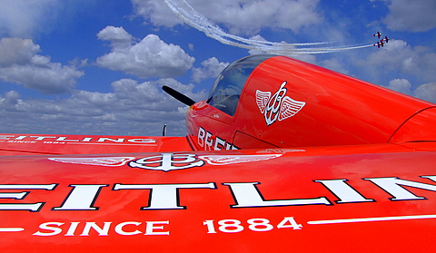 Breitling Aircraft with Aeroshell performing above.