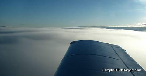 Campbell Field Airport, above the clouds of West Virginia.